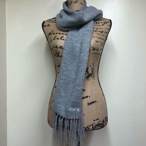 Levi's Gray Tight Knit Scarf Fringe Embroidered